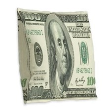 One Hundred Dollar Bill Burlap Throw Pillow