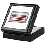 USA Chrome Flag July 4th Keepsake Box