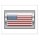 USA Chrome Flag July 4th Small Poster
