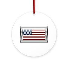 USA Chrome Flag July 4th Ornament (Round)