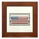 USA Chrome Flag July 4th Framed Tile