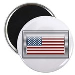 "USA Chrome Flag July 4th 2.25"" Magnet (100 pack)"