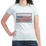 USA Chrome Flag July 4th Jr. Ringer T-Shirt