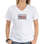 USA Chrome Flag July 4th Women's V-Neck T-Shirt