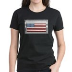 USA Chrome Flag July 4th Women's Dark T-Shirt