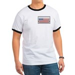 USA Chrome Flag July 4th Ringer T