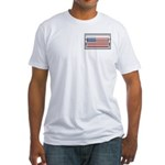 USA Chrome Flag July 4th Fitted T-Shirt