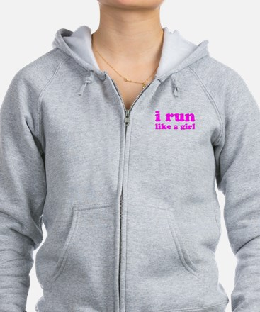 i run like a girl pink Zip Hoodie