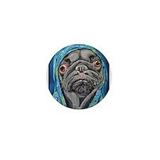Black Pug in Hoodie Mini Button