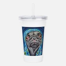 Black Pug in Hoodie Acrylic Double-wall Tumbler