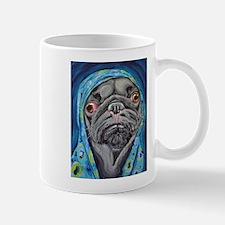 Black Pug in Hoodie Mugs