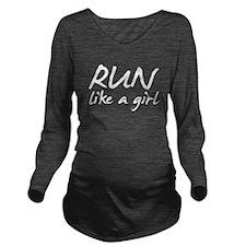 runlikeagirl_allwhit Long Sleeve Maternity T-Shirt