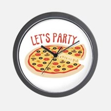 Lets Party Pizza Wall Clock
