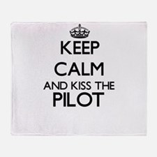 Keep calm and kiss the Pilot Throw Blanket
