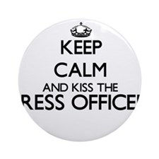 Keep calm and kiss the Press Offi Ornament (Round)