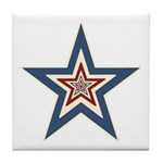 USA Striped Stars Fourth of July Tile Coaster