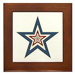 USA Striped Stars Fourth of July Framed Tile