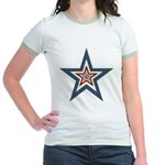 USA Striped Stars Fourth of July Jr. Ringer T-Shir