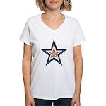 USA Striped Stars Fourth of July Women's V-Neck T-