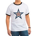 USA Striped Stars Fourth of July Ringer T