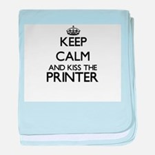 Keep calm and kiss the Printer baby blanket
