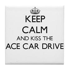 Keep calm and kiss the Race Car Drive Tile Coaster