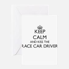 Keep calm and kiss the Race Car Dri Greeting Cards