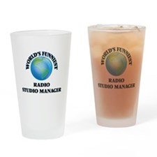 World's Funniest Radio Studio Manag Drinking Glass