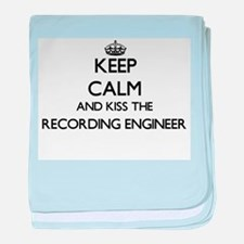 Keep calm and kiss the Recording Engi baby blanket