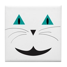 White Cat Smile Tile Coaster