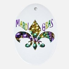 Mardi Gras Fleur Ornament (oval)