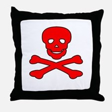 Red Skull and Crossbones Throw Pillow