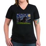 Starry Night Dachshund Women's V-Neck Dark T-Shirt