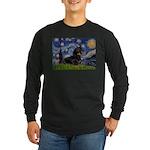 Starry Night Dachshund Long Sleeve Dark T-Shirt