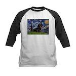 Starry Night Dachshund Kids Baseball Jersey