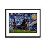 Starry Night Dachshund Framed Panel Print