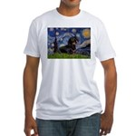 Starry Night Dachshund Fitted T-Shirt