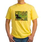 Irises & Dachshund (BT4) Yellow T-Shirt