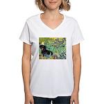 Irises & Dachshund (BT4) Women's V-Neck T-Shirt
