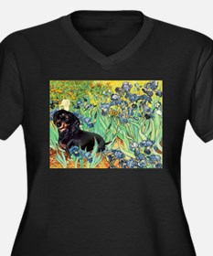Irises & Dachshund (BT4) Women's Plus Size V-Neck