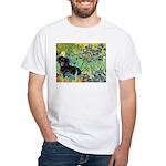Irises & Dachshund (BT4) White T-Shirt
