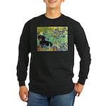Irises & Dachshund (BT4) Long Sleeve Dark T-Shirt
