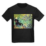Irises & Dachshund (BT4) Kids Dark T-Shirt