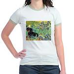 Irises & Dachshund (BT4) Jr. Ringer T-Shirt