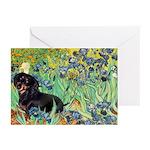 Irises & Dachshund (BT4) Greeting Cards (Pk of 10)