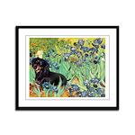 Irises & Dachshund (BT4) Framed Panel Print