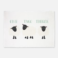 One Two Three Sheep 5'x7'Area Rug