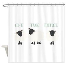 One Two Three Sheep Shower Curtain