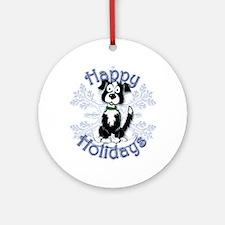 Ringneck Border Collie, Mick, Snow Ornament (Round