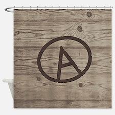 Letter A Monogram Branded Wood Shower Curtain